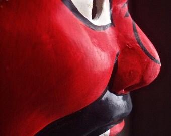 Vintage Hand Painted Chinese Opera Mask / Beijing Opera Mask / Peking Opera Mask / Asian Art / Wall Decor / Folk Art / Halloween Mask