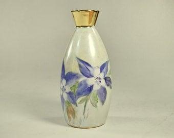 Vintage Hand Painted Floral Porcelain Iridescent Vase