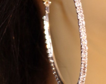 LARGE 2.25 inch Crystal Line Hoop Earrings Thin Cast Silver Tone rhinestone Hoops Earrings