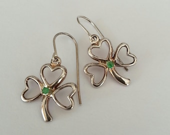 Clover Leaf Earrings in Sterling Silver with Small Emeralds