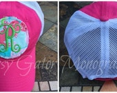 Trucker Hat, Monogrammed Baseball Hat For Women In Trucker Style And Lilly Pulitzer Fabric