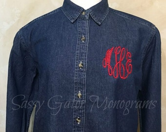 Plus Size Clothing, Denim Monogrammed Plus Size Long Sleeve Shirt For Women