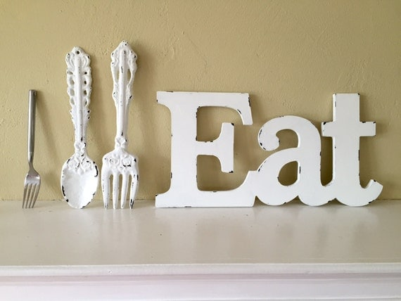 Https Etsy Com Listing 232797545 Eat Large Fork And Spoon Kitchen Or