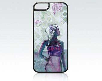 African girl iPhone 5 case, ethnic motive iPhone 5s cover, unique iPhone SE case, art, green