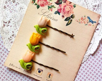 Resin Tulips Bobby Pins, Resin Tulips Hair Accessories, Hair Pins, Tulips Hair Pins, Bobby Pins