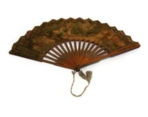 Antique Suchard fan. Chocolat Suchard circa 1900s. Vintage advertising ladies fan.  Swiss antique fan