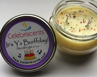 Delicious Strong Birthday Cake scented soy candle with sprinkles.  Sweet surprising birthday cake scent perfect for birthday gifts.  Yum!