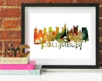 Columbus Ohio Art, Columbus Ohio Skyline, Columbus Ohio map, Columbus Ohio skyline, Columbus Ohio map print