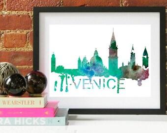 Venice Watercolor Skyline, Venice Skyline, Venice Art, Venice Poster, Venice Print, Venice Art, Venice Map, Venice Wall Art, Italy Art