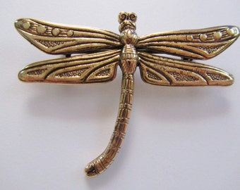 JJ Jonette Vintage Antique Gold Dragonfly Brooch