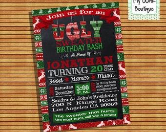 Ugly sweater birthday invitation christmas ugly sweater invite holiday xmas digital printable invitation you print 13337