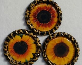 Sunflower and Leopard Bottlecap Magnets, Set of 3