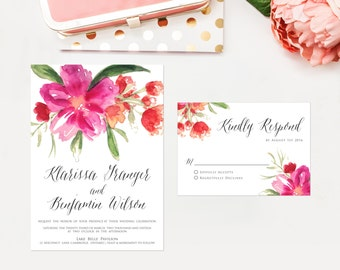 PRINTABLE Wedding Invitation Suite - Hot Pink Hand Painted Watercolor Flower Posy Wedding Invitation and RSVP Card - Garden Wedding