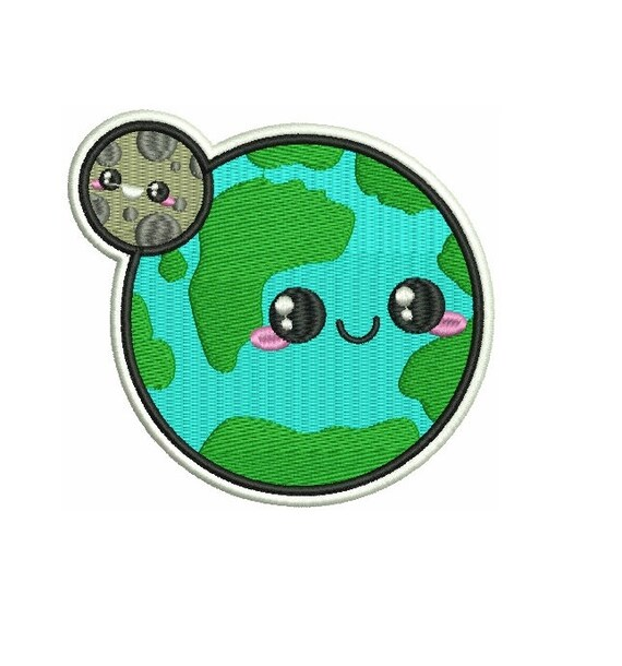 4 KAWAII planet earth and moon Embroidered Iron on patch
