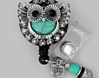 DELUXE Owl ID reel Badge holder~Gorgeous Bling Badge~ EG01