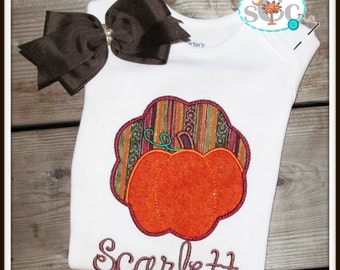 Personalized Scallop Pumpkin Shirt/Bodysuit