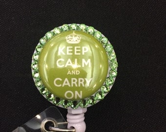 Keep Calm and Carry On ID Badge holder nurse badge holder