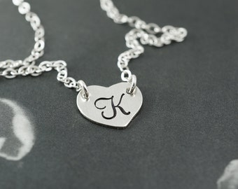 Initial necklace, stamped initial necklace, bridesmaids gift