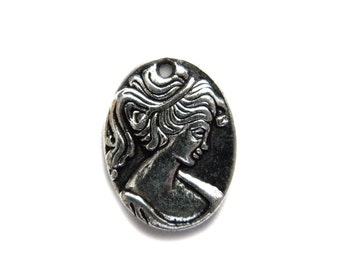6 Silver Cameo Charms