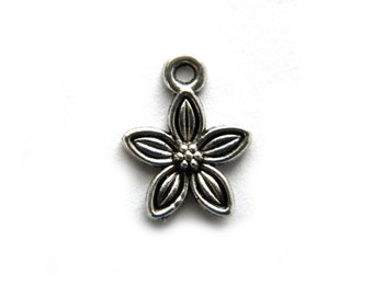 10 Silver Flower Charms - 13mm