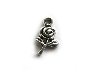 10 Silver Small Rose Charms