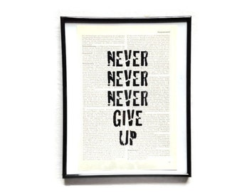 never give up vintage art print encyclopedia old book pages image poster