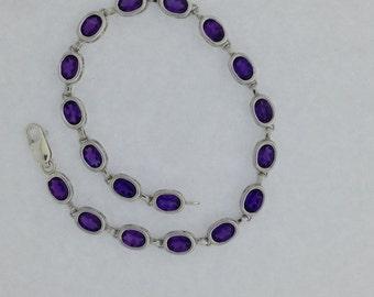 Natural Amethyst Bracelet Sterling Silver