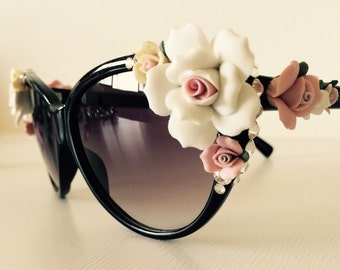 Sunglasses with roses and crystals