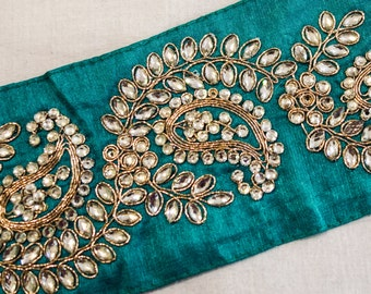 Gold Embroidered Paisley Vine Pattern on Teal Silk Dupioni Ribbon with Clear Rhinestone Trim