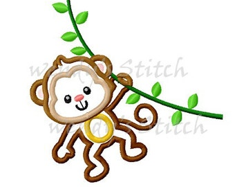 monkey applique machine embroidery design instant download