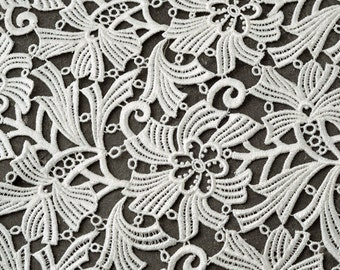 Venise Flower Lace Fabric, Wedding Lace Fabric 36 Inch by 1 Yard, White, ROI-4673