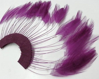 """Half Circle Feather Applique with Beads, Millinery Feather Applique, 9""""W x 5""""H, Purple, Red, TFP-AP5117"""