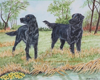 "11x14 giclee print, Flat-coated Retrievers, ""Flat-coated April Morning"", Hand Drawn Dog Art, Flat-coats near water, Dog Art, DOG LOVER GIFT"