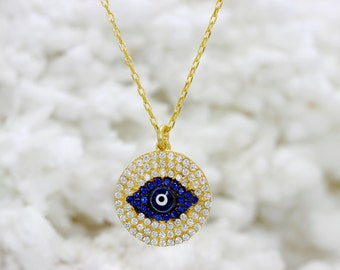 Sterling Silver Evil Eye Amulet Necklace