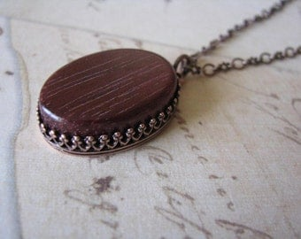 Exotic Wood Necklace in Bloodwood on Antique Copper Chain (#368)