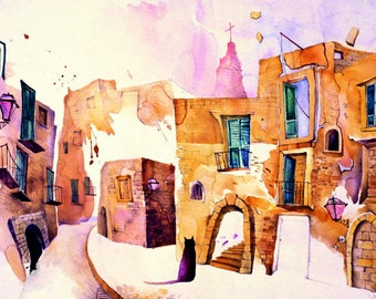 Painting of italy,Romantic Old Town,Impressionist painting, Watercolor Art, Original painting, Giclee Print, NO FRAME NEED