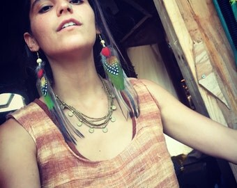 FeaTher Earrings ~ TRIBAL Exotic FEATHERS-pair of earrings gypsy jewelry choose your colors of your feathers
