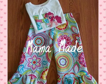 My Little Pony Ruffle Pants Set with Applique Initial