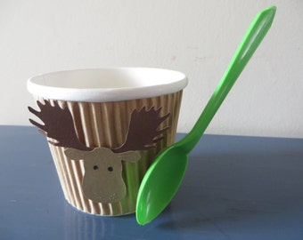 Animal Themed Treat/Ice Cream Cups with spoons - perfect for your animal themed birthday parties