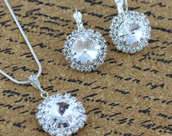 Bridesmaid Jewelry - Diamond Bridal Earrings - Bella Rivoli - Rivoli Crystal - Bridal Earrings - Bridesmaid Jewelry Sets - April Birthstone