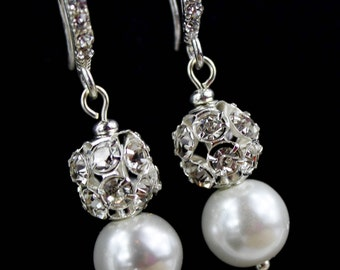 Pearl Bridal Earrings - Bridesmaid Jewelry - Pearl Drop Earrings - Wedding Jewelry - Rhinestone Bridal - Chunky Pearl - Vintage Style - Deco