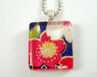 Japanese Chiyogami Paper Pendant - Pink & Blue Cherry Blossoms - Tiny Glass Tile Pendant with Chain - Sakura Flowers - Japanese Necklace