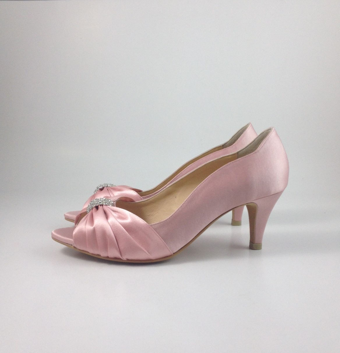 Sweet Pink Wedding Shoes With Rhinestones Pastel Bridal