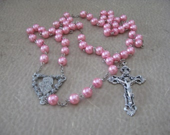 Rosary, Filigree Crucifix, Center - Mary & Jesus with roses, 8mm Pink Pearls