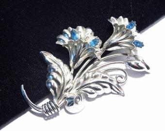 Sterling Silver Flower Brooch Pin Blue Rhinestones Vintage Signed