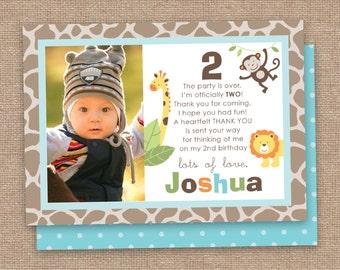 Jungle 2nd Boy Birthday Thank You Card, Monkey and Jungle Animals, DIY Printable