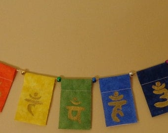 Sacred Geometry Chakra Balancing Prayer Flags, Hand Painted