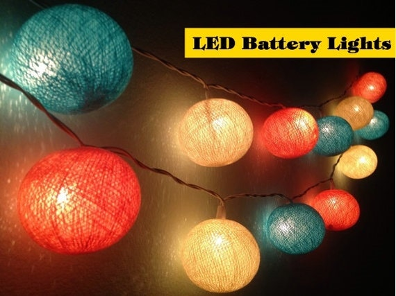 Colored String Lights For Bedroom : LED Battery Lights20 Cotton ball lightsparty by Icandylighting