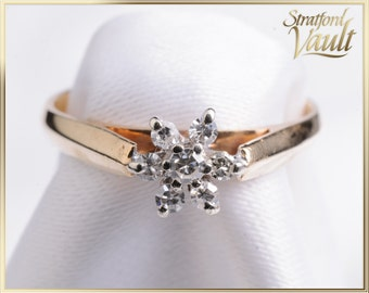 Vintage ~ Ladies Diamond Right Hand Ring ~ 14K Yellow Gold ~ 1 x 2.0 mm + 6 x .01 mm Single Cut Diamonds ~ STR_005 ~ 600.00