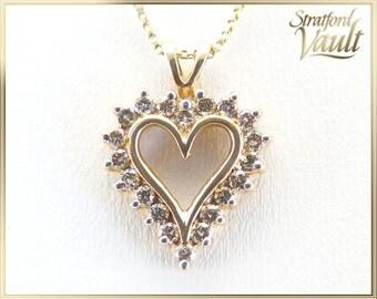 Diamond Heart Pendant ~ 10K Yellow Gold ~ 0.50ctw Genuine Brilliant Cut H/SI2 Diamonds ~ 10k Chain Included ~ STR17106 ~ GIA ~ 2500.00